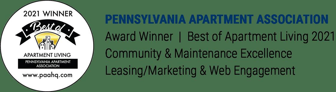 Pennsylvania Apartment Association Award Winner Best in Apartment Living